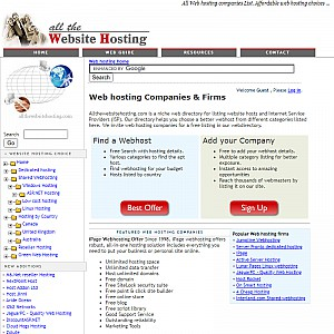 All Web hosting firms list