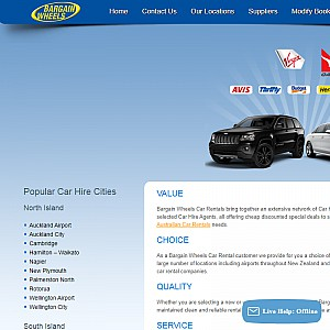 Bargain Wheels Car Rental New Zealand