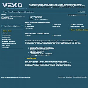 WESCO - Industrial Waste Treatment Equipment, Industrial Waste Water Treamtent Equipment Specialties
