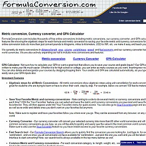 Metric conversion, Currency converter, and GPA Calculator