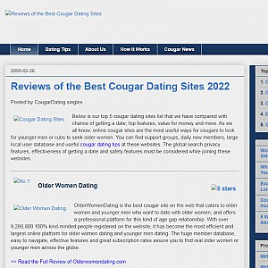 cua cougars dating site Cougar dating site - cougars looking for casual meets in uk we found that cougardatingsitecouk is poorly 'socialized' in respect to any social network.