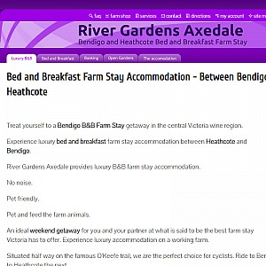 Bed and Breakfast Accommodation - Axedale - Bendigo - Heathcote