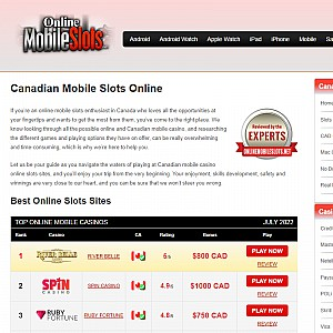 Canadian Mobile Slots Sites