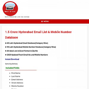 Email Database Hyderabad | Hyderabad Email ID List Database Free Download